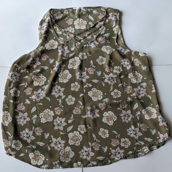 Plus Size Maurices Green Floral Tank Top